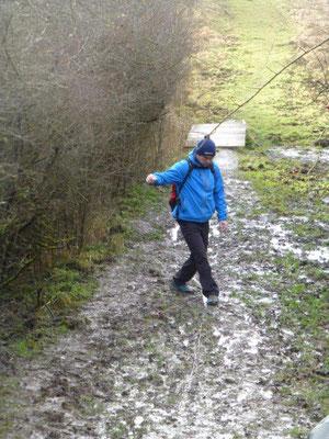 Nach dem Tauwetter und dem Regen der vergangenen Tage waren die Wege teilweise recht schlammig