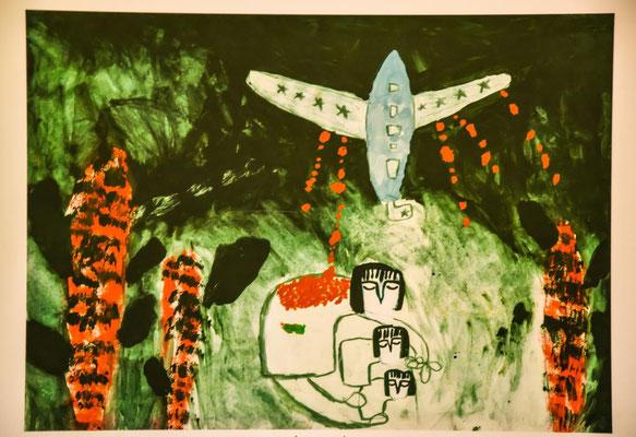 Wir waren auch im Museum über den Vietnamkrieg. Dieses Bild wurde von einem Kind gemalt.