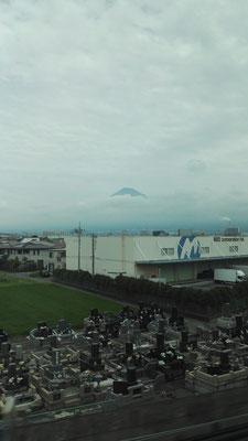 Auf der letzten Fahrt mit dem Shinkansen zurück nach Tokyo kommen wir am Mount Fuji vorbei und erhaschen einen kleinen Blick auf ihn.