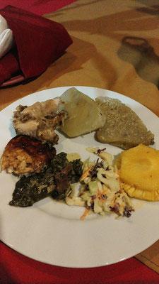 Typisches Fiji-Abendmahl - wurde mit den Fingern gegessen
