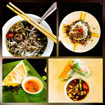 Vier Gänge Menü: Reisnudelsuppe mit Rind, Reisnudelsalat mit frischen Kräutern, Gemüse und Rindfleisch, knuspriger Reismilchpfannkuchen mit Schweinefleisch und was auch sonst, frische Kräuter und die frische Frühlingsrolle.