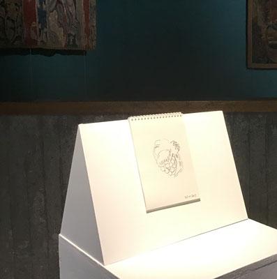JC FAREY, Au fil des bordures, 2019. Carnet relié, une empreinte originale et 35 dessins/textes en impression laser, 20 exemplaires, 21 x 15 cm.  Avec le soutien de TAMAT.