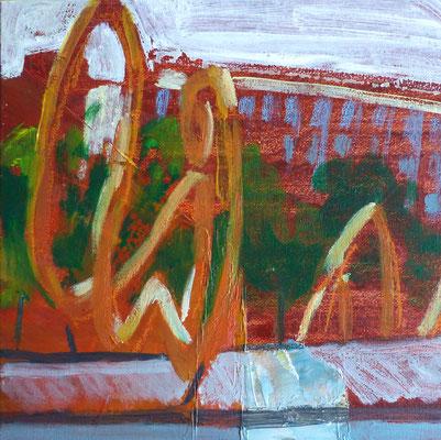 JC Farey Vue sur Loder 28-06-2017. Acrylique et crayons gras sur carton toilé délaissé, trouvé dans les réserves de l'École d'art de Douai  (détail)
