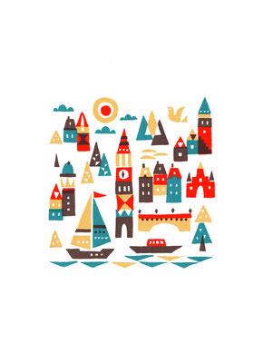 Port town(シルクスクリーン印刷)