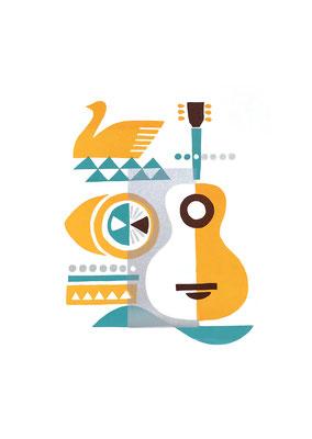 Lemon & Guitar (シルクスクリーン印刷)