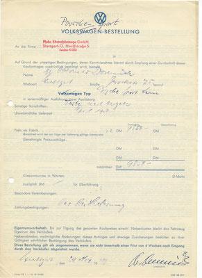 Das Originaldokument der Bestellung von Domnick mit der Kommissionsnummer 5001 liegt heute in der Stiftung Domnick, die seinen Nachlass verwaltet. @Sammlung Domnick
