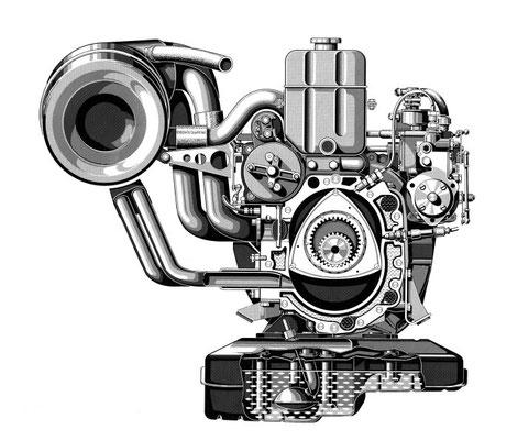 4-Scheiben-Wankelmotor aus dem Forschungsfahrzeug Mercedes-Benz C 111/II, 1970