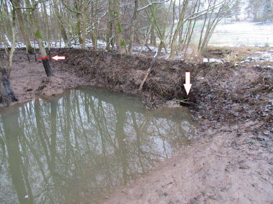 Markiert sind das Leck im Damm und der vorherige Wasserstand