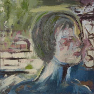 """Frauenporträt - bin ich das ? I"" 50cm x 50cm, Acryl auf Leinwand, 2013"