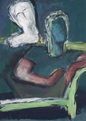 Zwiegespräch II, Acryl auf Pappe, 70x50 cm, 2019