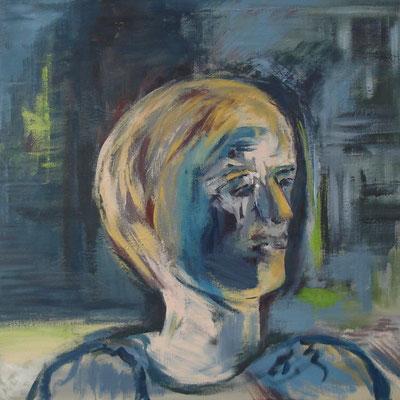 """Frauenporträt - bin ich das ? II"" 50cm x 50cm, Acryl auf Leinwand, 2013"