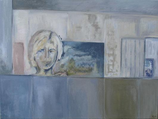 """""""Momentaufnahme"""" Selbstbildnis, 60cm x 80cm, Acryl auf Leinwand, 2013"""