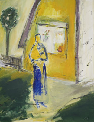 Gelbes Haus, Acryl auf Leinwand, 90x70 cm, 2020