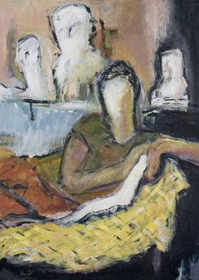 Zwiegespräch IV, Acryl auf Pappe, 70x50 cm, 2019