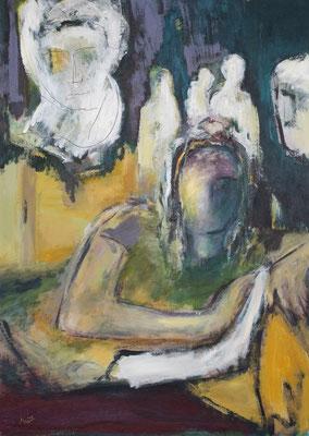 Zwiegespräch I, Acryl auf Pappe, 70x50 cm, 2019