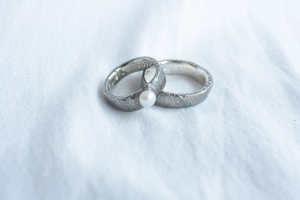 Silber Ringe rustikal mit Perle