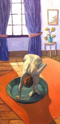 """Inspiration Edward Degas """"Le Tub - Der Badezuber"""" Öl auf Keilrahmen bespannt mit Baumwolle - 30x60cm"""
