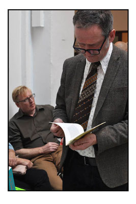 Jeremy Akerman (sitting) at the London Art Book Fair at the Whitechapel Gallery, 2015.