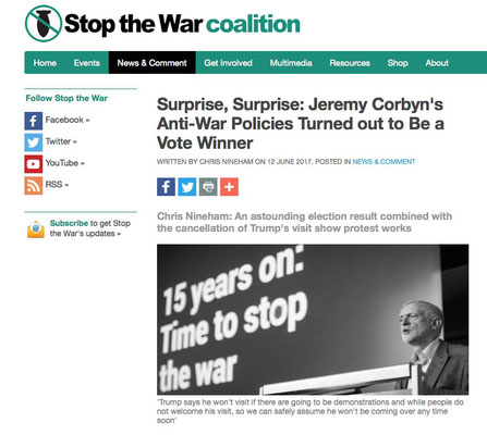 Stop The War Coalition 'Anti War Policies Turned Out to Be A Winner' 12.6.17