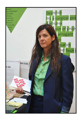 Artist Fiona Banner at the London Art Book Fair at the Whitechapel Gallery, 2015.