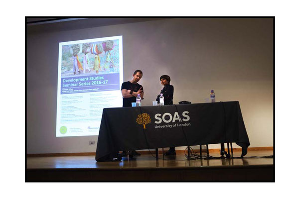 Andreas Malm & chair Feyzi Ismail at Violent Past, Hot Present, Extreme Future: Episodes of Fossil Imperialism and Climate Change in Egypt, India and Nigeria. SOAS 31.1.17