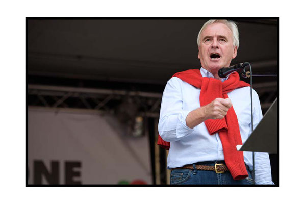 John McDonnell, Not One Day More demo, People's Assembly, London,1.7.17