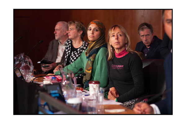 Salma Yaqoob next to Medea Benjamin, far end of table is Jeremy Corbyn at 15 Years On: Time To Stop The War, London TUC Congress House, 8.10.16 pic by Jim Aindow