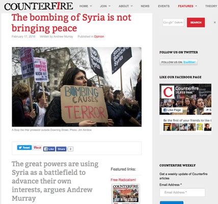 Counterfire : The bombing of Syria is not bringing peace. 17.2.16