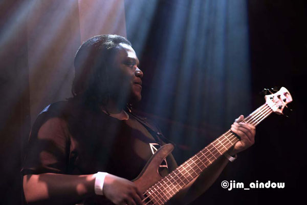 Mutale Chasi on bass with 'Joe Armon-Jones and Maxwell Owin'.