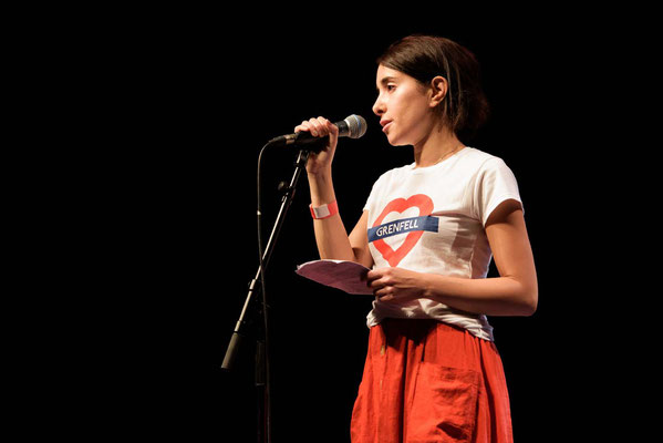 Mona Kamal at  'For The Many'  Gig-a celebration of Jeremy Corbyn's campaign