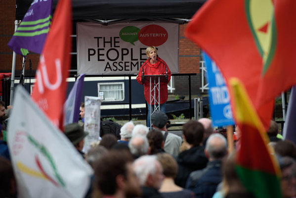 Actress Julie Hesmondhalgh speaking at People's Assembly Demonstration Against Austerity, Take Back Manchester Festival, 1.10.17