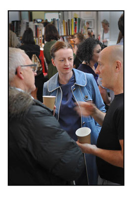 Artist Audrey Reynolds at The London Art Book Fair at the Whitechapel Gallery, 2015.