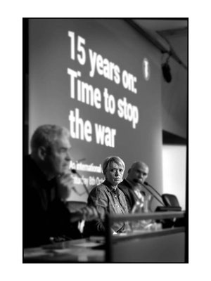 Judith Orr at 15 Years On: Time To Stop The War, London TUC Congress House, 8.10.16 Pic by Jim Aindow