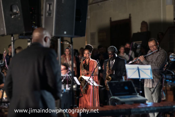 Nubya Garcia on tenor sax, Tony Kofi on alto sax and Rowlans Sutherland on flute.