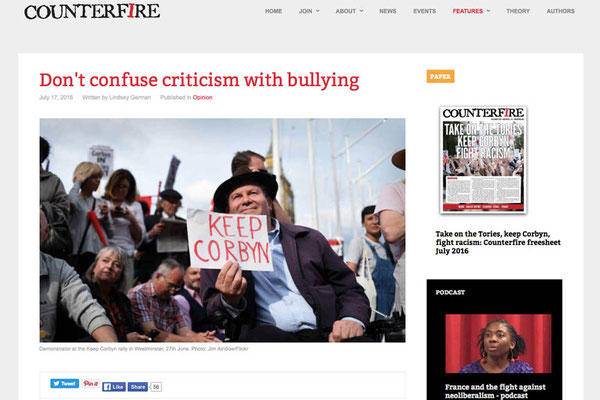 Counterfire: Don't confuse criticism with bullying 17.7.16