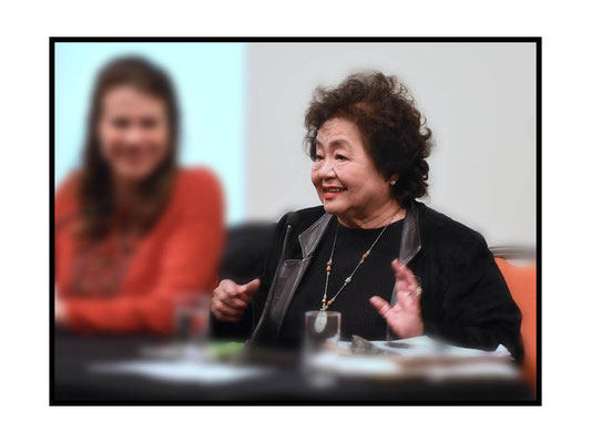 Dr Griseeildis Kirsch chairing, Setsuko Thurlow speaking at 'A Voice from Hiroshima', SOAS 21.3.17