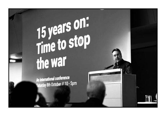 John Rees at 15 Years On: Time To Stop The War, London TUC Congress House, 8.10.16 Pic by Jim Aindow