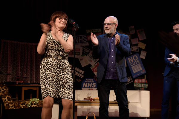 Brian Eno dancing with actress & comedian Barbara Nice at The People's Assembly, Saturday Night Live Event as part of Take Back Manchester Festival, 30.9.17