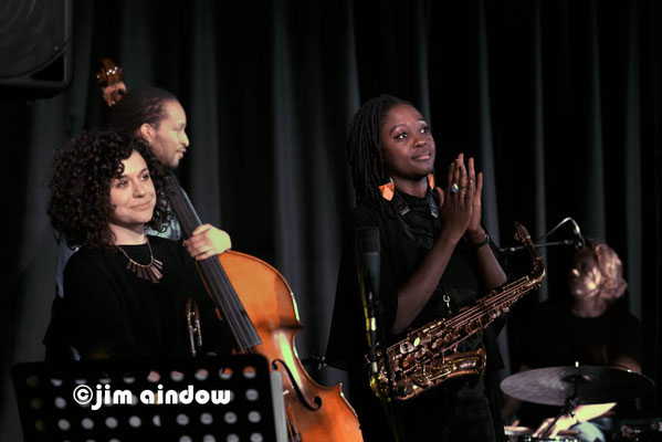 Rosie Turton, Rio Kai on bass & Cassie Kinoshi, on alto sax. Nerija at Poplar Union, London 18.1.18