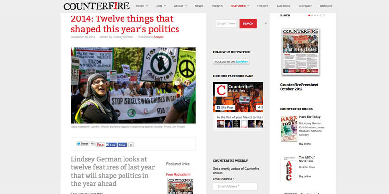 Counterfire: 12 things that shaped this years politics 19.12.14