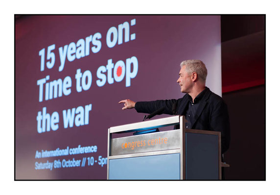 John Hilary of War on Want at 15 Years On: Time To Stop The War, London TUC Congress House, 8.10.16 Pic by Jim Aindow