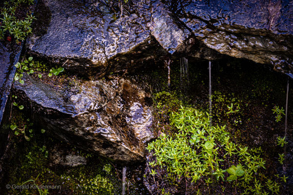 Von überall kommt Wasser die Felsen herunter