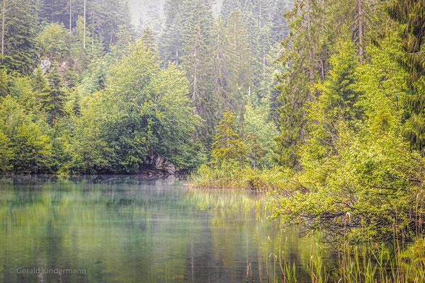 Der frühe Morgen schafft eine mystische Stimmung am Crestasee