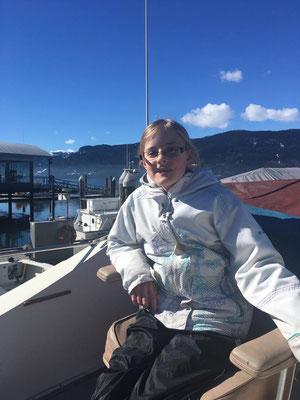 Caslyn aboard Duncan & Sue's boat.