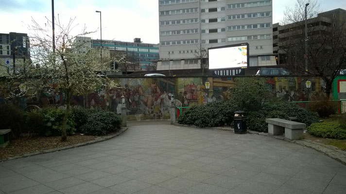 If you zoom in on the wall at the bottom, you will see the Horsefair mural.