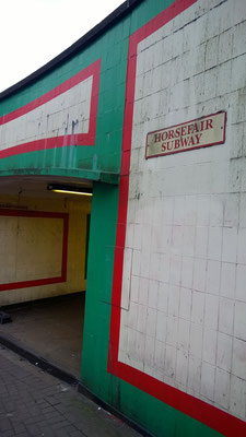 To enter this subway you walk past the mural of the Horsefair.