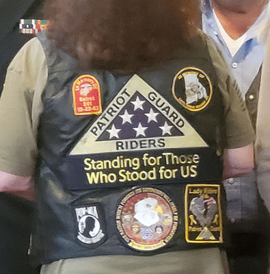 Back of vest belonging to Jackie Nadeau-Corey (NH PGR)