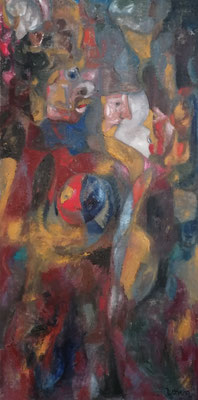 Карин Цорн, Рыцарь, смерть и черт II, 2021,  маслом на холсте 120х60 см, Karin Zorn, Ritter, Tod und Teufel II, 2021 (Knight, Death and Devil) Oil on linen 120x60cm