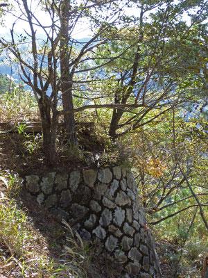 登山道脇に現れた石垣
