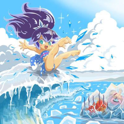 【妖怪ウォッチ・ふぶき姫の海水浴】夏の海が流氷の海に。
